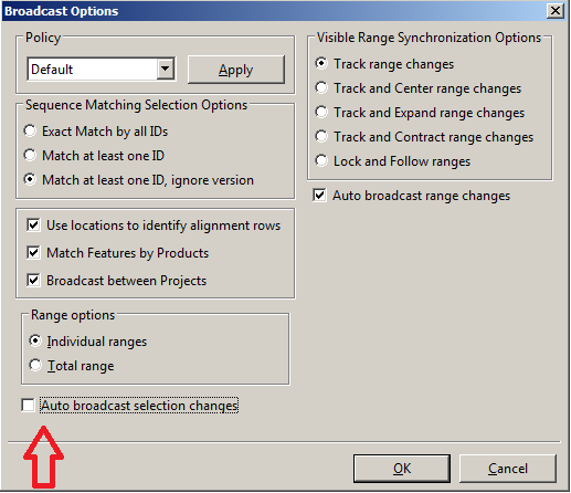 Global broadcast options dialog