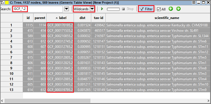 GenericTableView wildcard search filtered