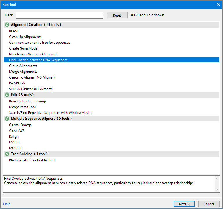Run Tool dialog Find Overlap selected