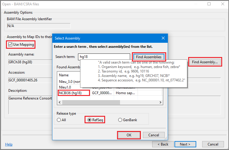 Open BAM select assembly dialog