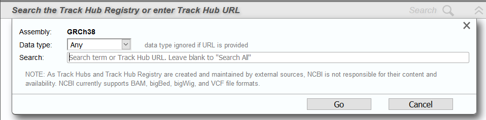 search add track hubs dialog
