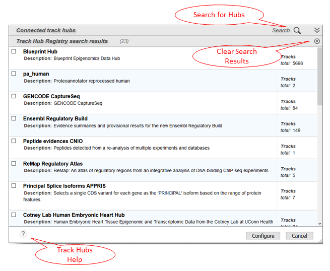 Track Hubs panel showing search results