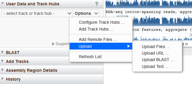 user data and track hubs widget