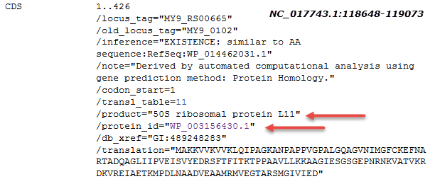 Image of CDS feature for 50S ribosomal protein L11 as annotated on NC_017743.1. The CDS cross-references nonredundant protein WP_003156430.1.